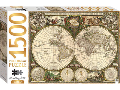 VINTAGE WORLD MAP GOLD 1500pc