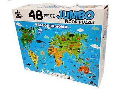 WORLD MAP JUMBO FLOOR PUZ 48pc