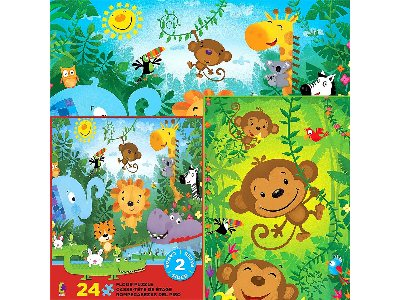 JUNGLE ANIMALS 2 SIDED 24pcs