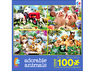 ADORABLE ANIMALS 100pc 4-IN-1