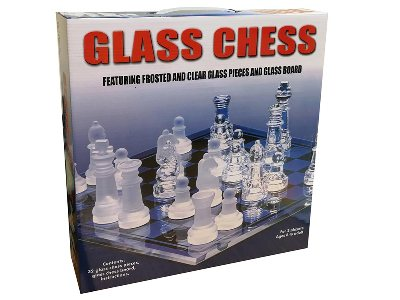 CHESS SET, GLASS, 35x35cm