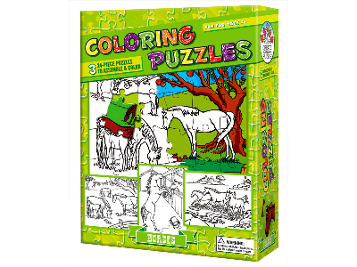 COLOURING PUZZLE HORSES