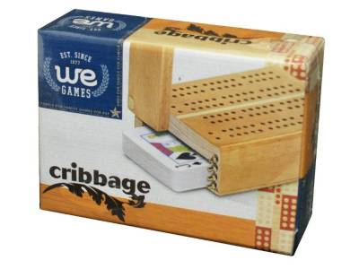 CRIBBAGE, WOOD W/PLAYING CARDS