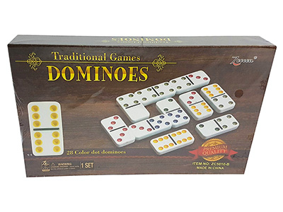 DOMINOES, D-6 COLOURED TILES