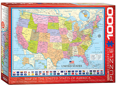 MAP OF THE USA 1000pc