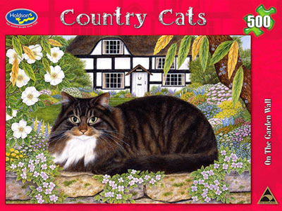 COUNTRY CATS ON GARDEN WALL
