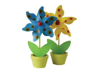 PLANT POT MINI WINDMILLS x 6