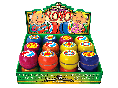 YO-YOS, WOODEN, Display of 24