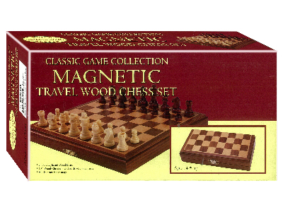 "CHESS SET,WOOD,8""FOLDING MAGNT"