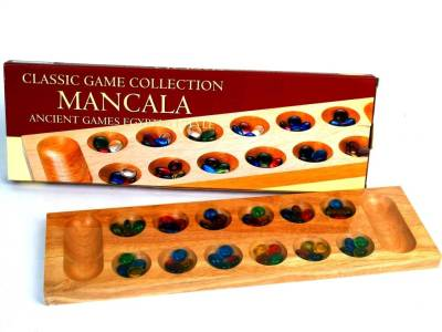 MANCALA, 44cm WOOD, GLASS PCS.