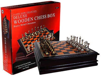 "CHESS SET,METAL, 12"" INLD.CASE"