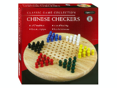 CHINESE CHECKERS,WOOD w/PEGS