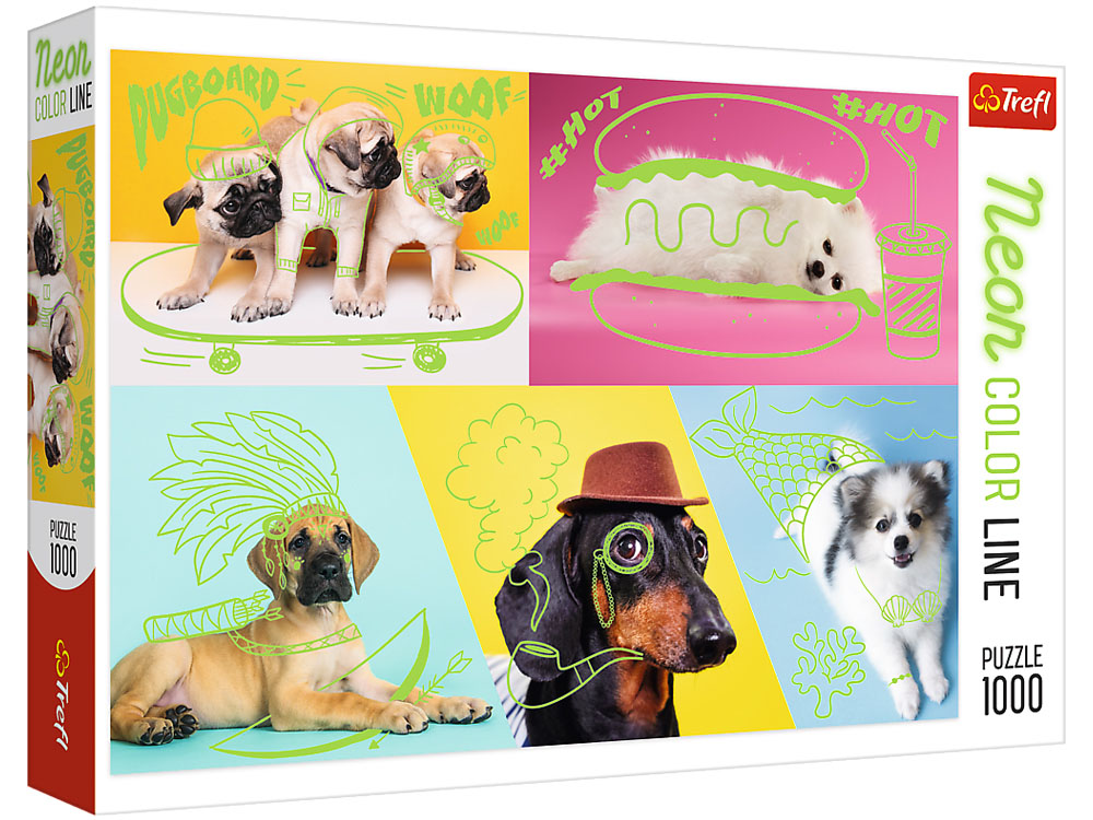 NEON COLOUR LINE DOGS 1000pc
