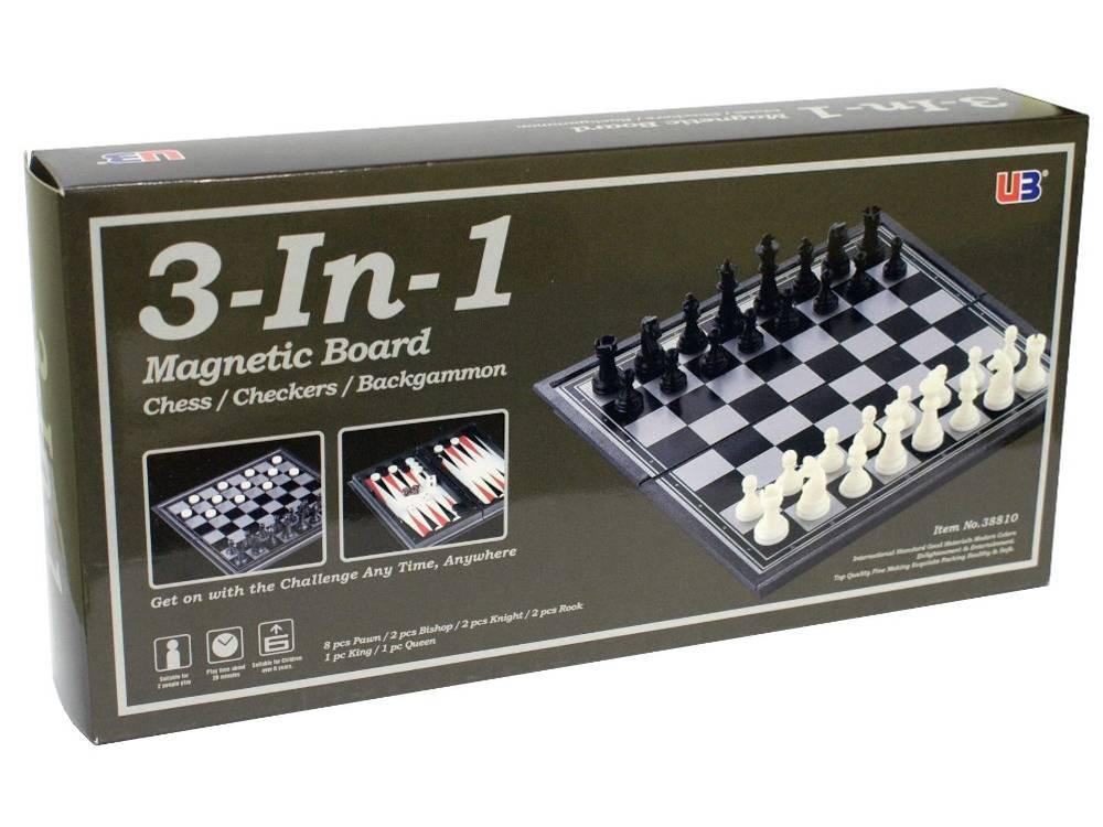 CHESS/CHECKERS 3-in-1 MAGN.10""