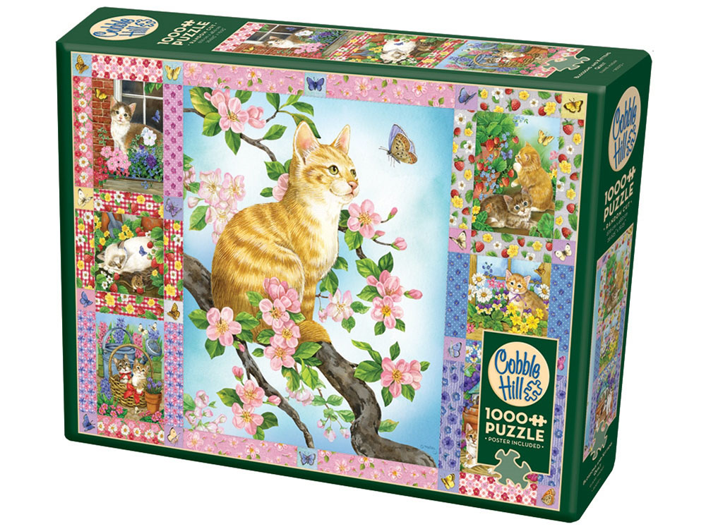 BLOSSOMS & KITTENS QUILT 1000p