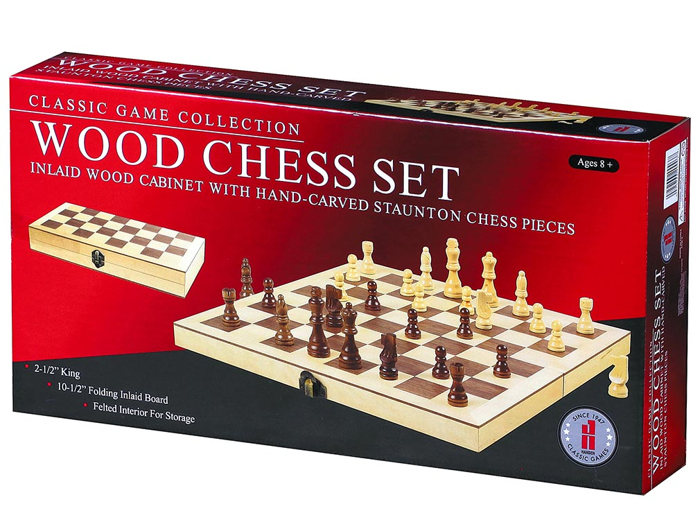 "CHESS SET,WOOD,18"" INLAID BRD."