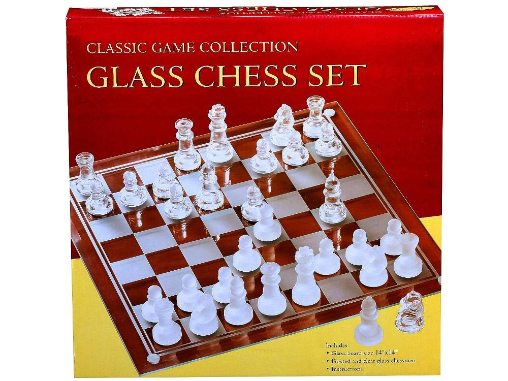 CHESS SET, GLASS 14""