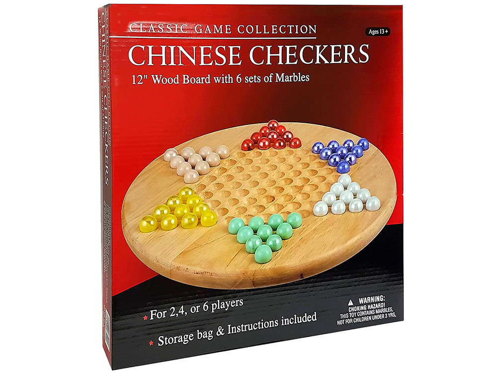CHINESE CHECKERS,WOOD w/MARBLS