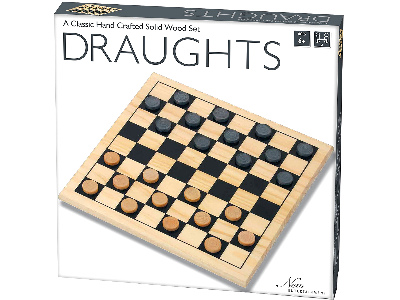 DRAUGHTS SET, SOLID WOOD 29cm