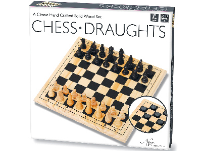 CHESS/DRAUGHTS,SOLID WOOD 29cm