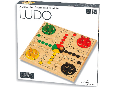 LUDO SET, SOLID WOOD 29cm