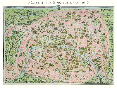 MAP OF PARIS, 1910, 1000pc