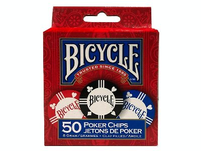 POKER CHIPS (50) BICYCLE, CLAY