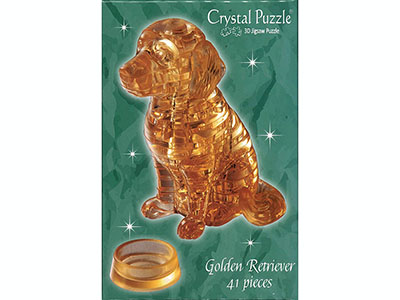 3D GOLDEN RETRIEVER CRYSTAL PZ