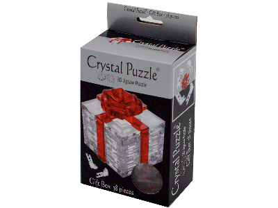 3D RED RIBBON GIFT, CRYSTAL PZ